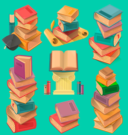 Set of book stacks in a flat design vector illustration