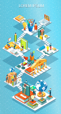 Educational isometric concept vector illustration