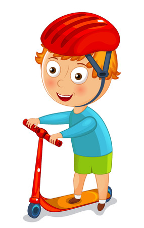 Little boy on a scooter in a helmet vector illustration Ilustração