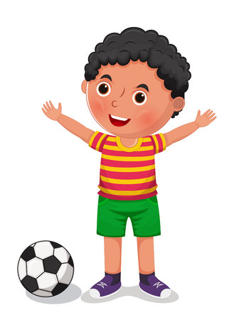 Boy with a ball vector illustration Ilustração