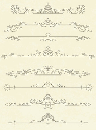 Set of vintage line dividers vector illustration 向量圖像