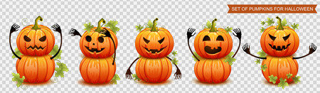 Set of pumpkins for Halloween. Vector illustration Vectores