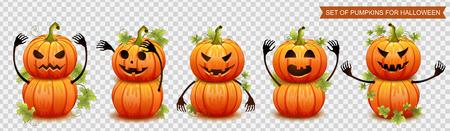 Set of pumpkins for Halloween. Vector illustration Illustration