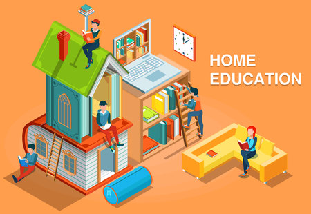 Home education isometric concept vector illustration Ilustração