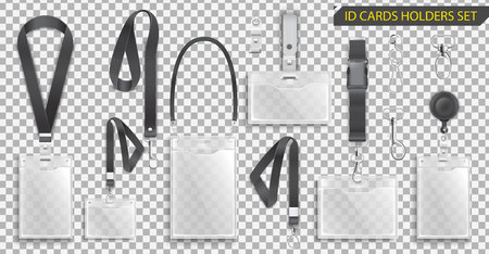 ID card holders with clips, cord and clasps vector illustration 向量圖像