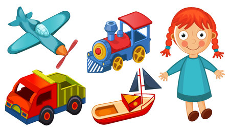 Kids toys isolated on white background vector illustration
