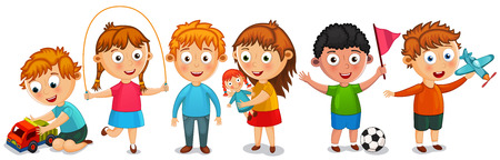 Funny kids isolated vector illustration