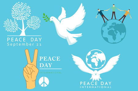 International Day of Peace symbols vector illustration