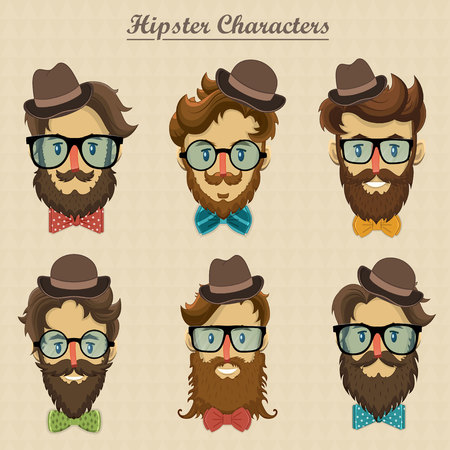 Hipster characters with retro hairstyle and bearded faces vector illustration