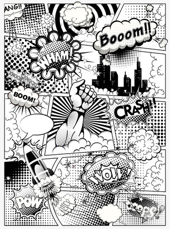 Black and white comic book page, superhero hand and sounds effect. Vector illustration Banco de Imagens - 112601437