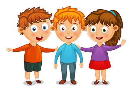 Little kids best friends hug vector illustration