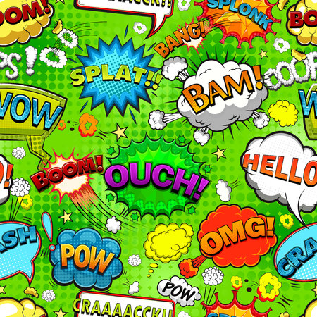 Comic speech bubbles on green background vector illustration Ilustração