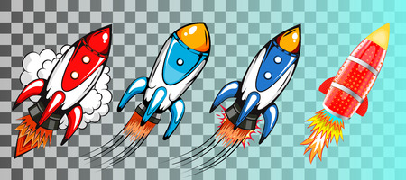 Set of rockets in retro pop art style vector illustration Ilustração