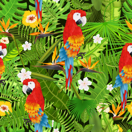 Seamless pattern with tropical leaves, flowers and parrot vector illustration Ilustração