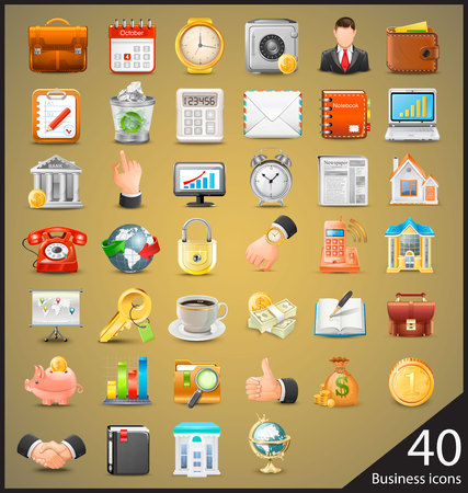 Business icons big set vector illustration Ilustração