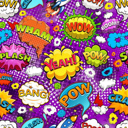 Comic speech bubbles seamless pattern 向量圖像