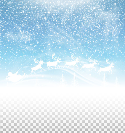 Winter sky with falling snow and santa claus 向量圖像