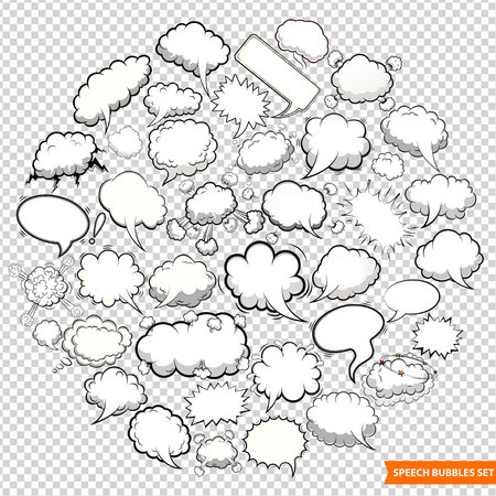Speech bubbles isolated on transparent background vector illustration