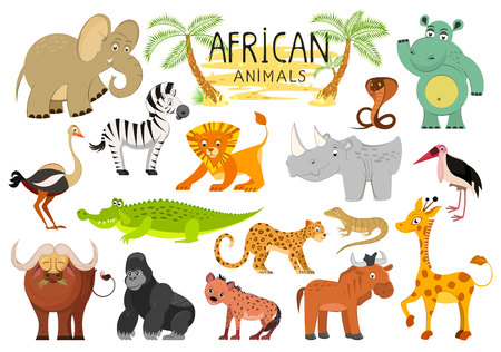 African animals collection isolated on white background. Vector illustration Banco de Imagens - 112601490