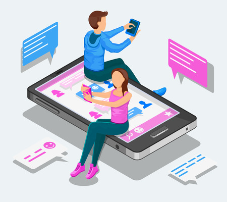 Online dating and virtual relationships isometric concept. Teenagers are chatting sitting on a smartphone. Ilustração
