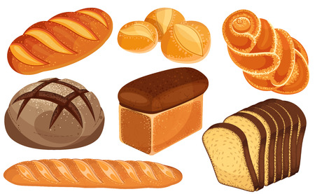 Ensemble d'icônes de pain de vecteur. Pain long, pain de seigle, baguette, petits pains, pain blanc, pain de mie, brioche.
