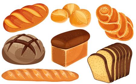 Icone del pane di vettore messe. Pagnotta lunga, pane di segale, baguette, panini, pane bianco, fette di pane, brioche.
