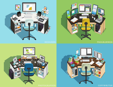 Workplace at different jobs. Programmer, Designer Photographer, Copywriter. Vector illustration
