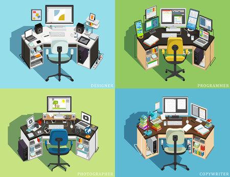 Workplace at different jobs. Programmer, Designer Photographer, Copywriter. Vector illustration Banco de Imagens - 112601513