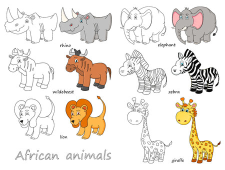 Cartoon african animals outline 向量圖像