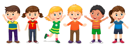 Children in different positions vector illustration 向量圖像