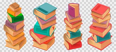 Book stacks on transparent background vector illustration