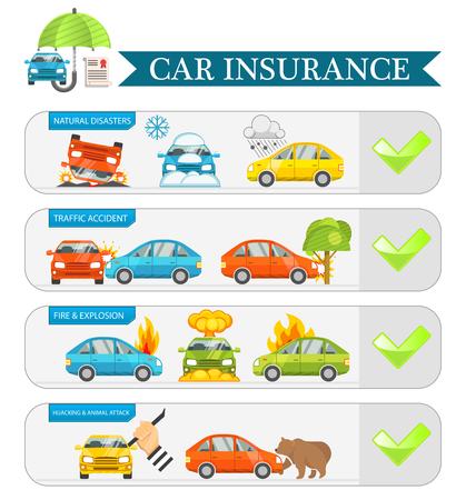 Car insurance infographics vector illustration