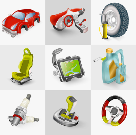 Car accessories icon set vector illustration