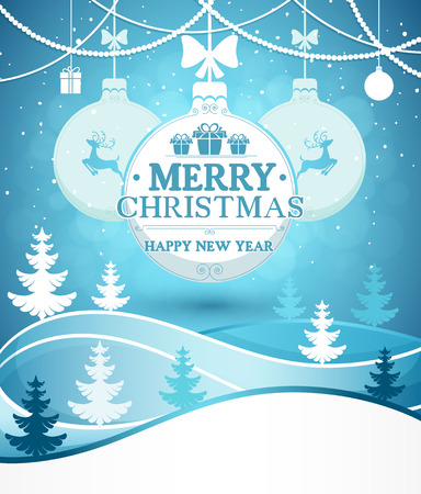 Merry Christmas and New Years greeting card