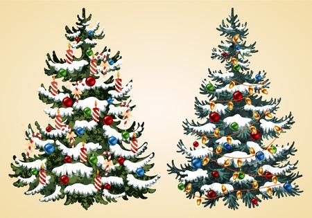 Weihnachtsbäume mit Girlande und Kerzenvektorillustration Vektorgrafik