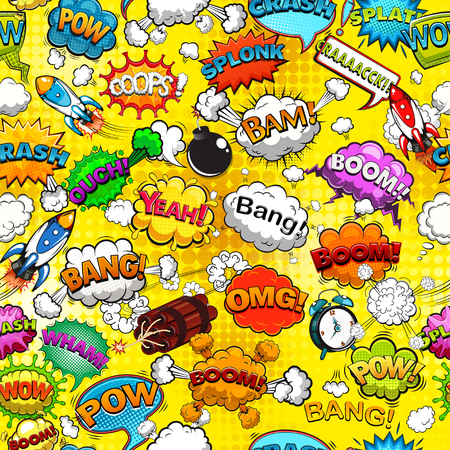 Comic speech bubbles seamless pattern Banco de Imagens - 114467344