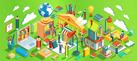Education Isometric concept on green background. People reading books. Learning process. Vector illustration