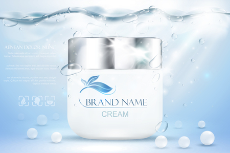 Aqua cream moisturizing cosmetic. Advertising realistic underwater blue template. Skincare promotion. Hydrating facial lotion. Vector illustration 向量圖像