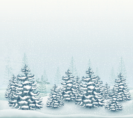 Forest winter landscape vector illustration 向量圖像