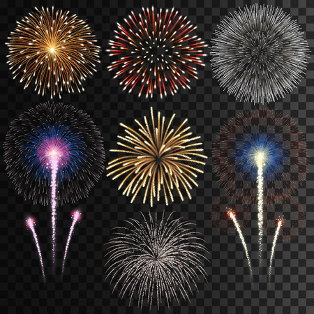 Transparent fireworks on transparent background
