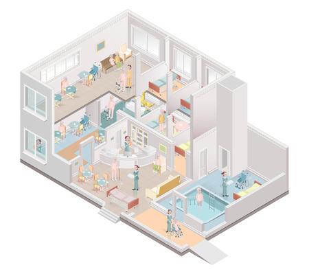 Altenheim. Einrichtung für betreutes Wohnen. Vektor-Illustration