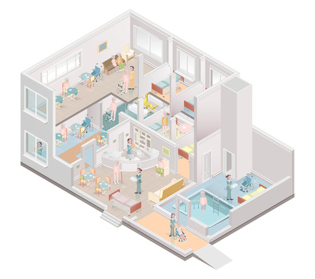 Nursing home. Assisted-living facility. Vector illustration Ilustração