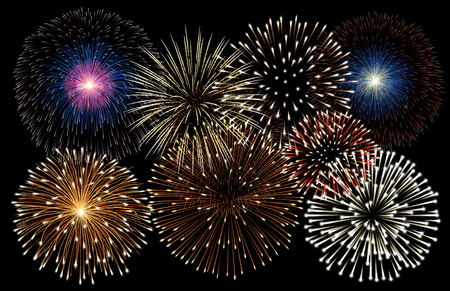 Realistic fireworks background vector 版權商用圖片 - 121314957