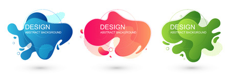 Set of abstract liquid shape graphic elements. Colorful gradient fluid design. Template for presentation, banner. Vector illustration. 向量圖像