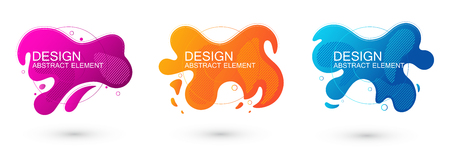 Set of abstract liquid shape graphic elements. Colorful gradient fluid design. Template for presentation,  banner. Vector illustration.