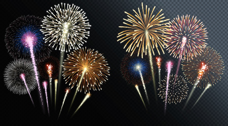 Two groups of isolated fireworks. Vector illustration. Ilustração