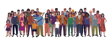 Isolated on white background. Children, adults and teenagers stand together. Vector illustration 向量圖像