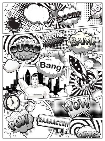 Black and white comic book page Vector illustration