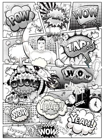 Black and white comic book page Vector illustration Banco de Imagens - 127982856