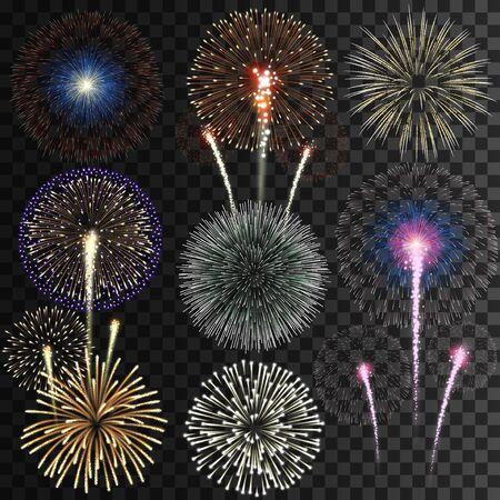 Transparent fireworks on transparent background Banque d'images - 127982852